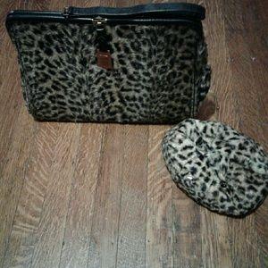 Vintage Leopard print bag and hat